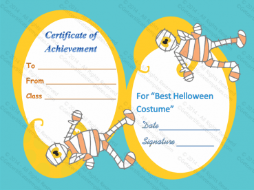 Best Halloween Costume Certificate of Achievement Template