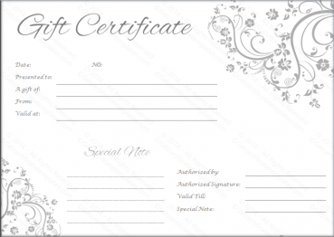 Delicate Swirls Gift Certificate Template