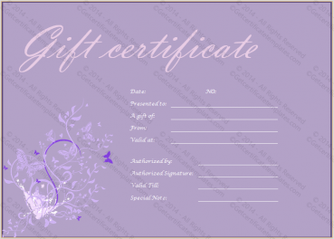 Purple Paper Gift Certificate Template