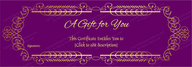 Purple Velvet Gift Voucher Template Get Certificate Templates – Template for a Voucher