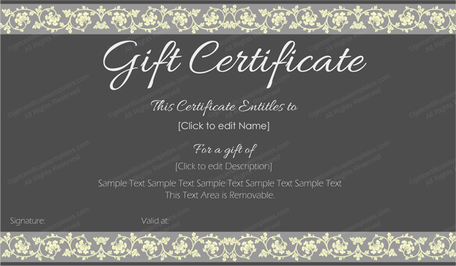 Beauty In Black Gift Certificate Template Printable Gift