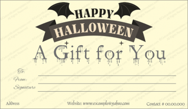 Halloween Gift Card Template 2