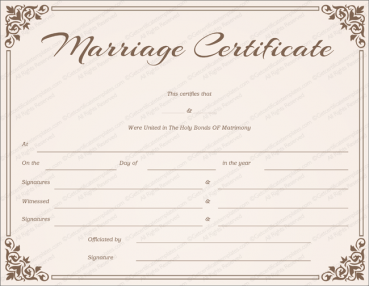 Chocolate Border Marriage Certificate Template