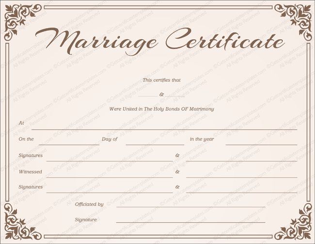 Blank Marriage Certificate Template | Chocolate Border Marriage Certificate Template Get Certificate