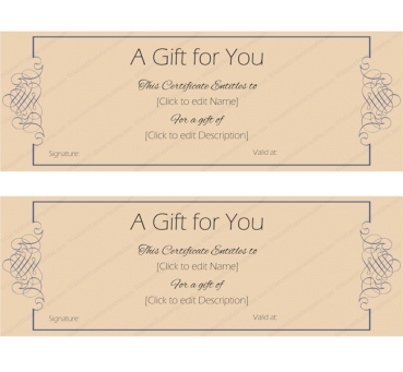 Formal Note Gift Certificate Template