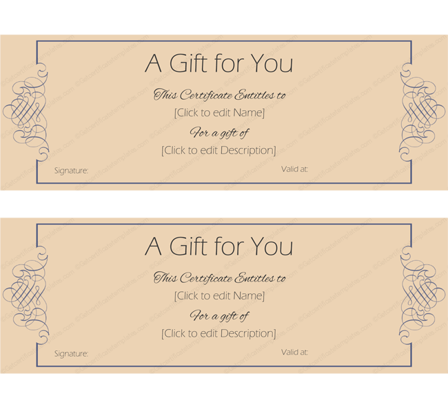 formal note gift certificate template create gift certificates