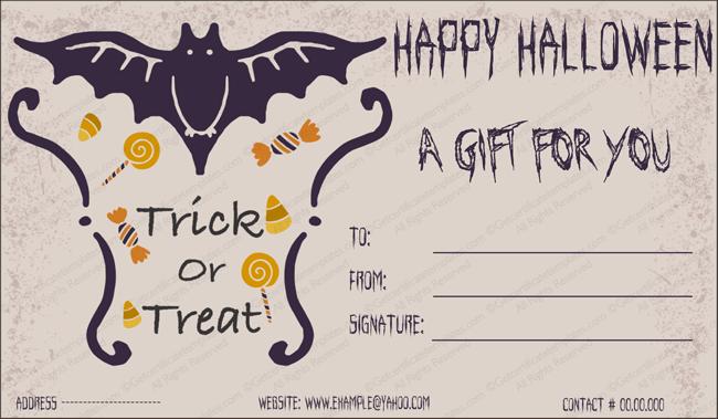 Halloween Gift Gift Template 2 - Create Halloween Certificates