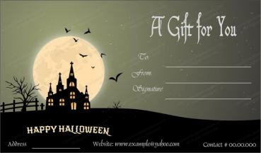 Halloween Gift Card Template 1