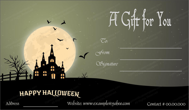 Halloween Gift Card Template 1 Create Halloween Certificates