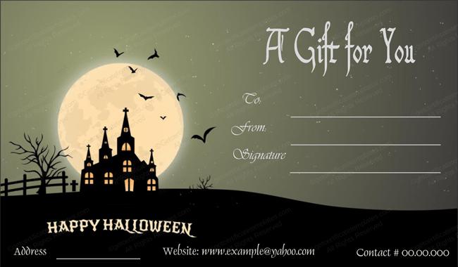 Halloween gift card template 1 create halloween certificates halloween gift certificate template yelopaper Images