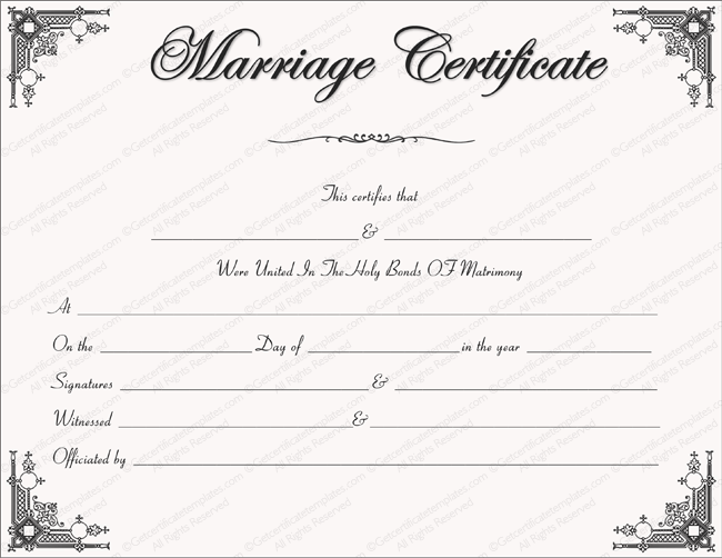 Intimacy Marriage Certificate Template