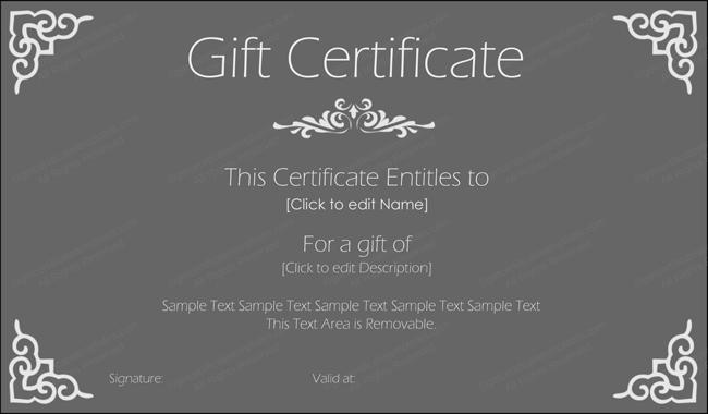Stylish Black Gift Certificate Design