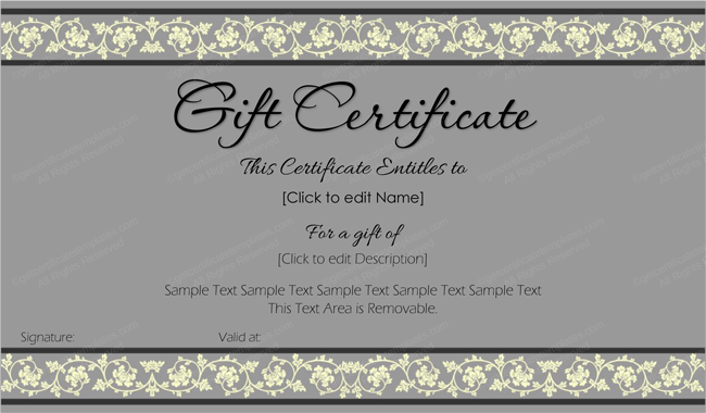 beauty in gray gift certificate template get certificate templates. Black Bedroom Furniture Sets. Home Design Ideas