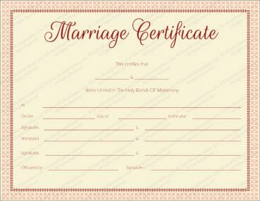 Free printable marriage certificate templates editable printable maroon delight marriage certificate template yelopaper Images