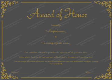 Award of Honor Template (Mate Black Color) PR