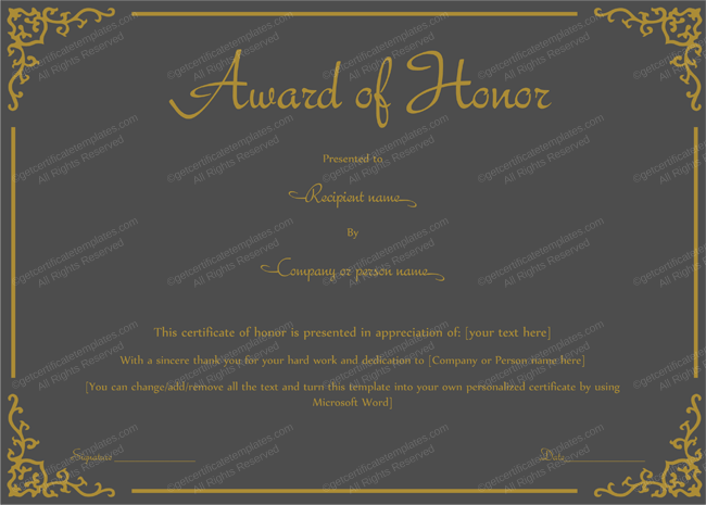 Award of Honor Template (Mate Black Color) PR