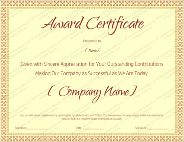 Award certificate templates editable printable in word award on retirement certificate template yadclub Images