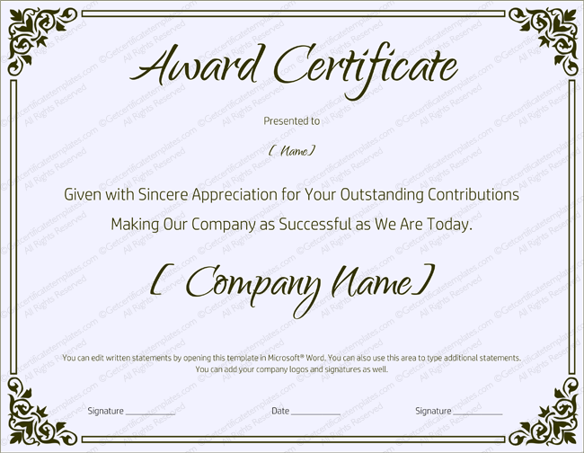 Blank Retirement Certificate Template Word  Award Certificate Template For Word