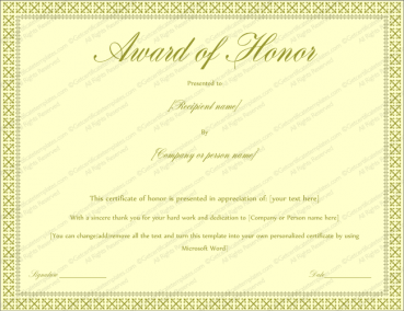 Award of Honor Certificate Template (Editable for Word)