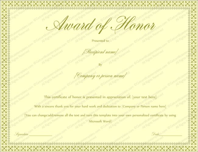 Award of honor certificate template editable for word for Certificate template word 2016