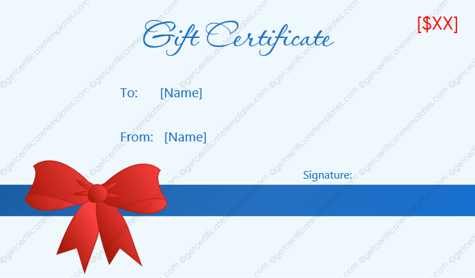 Diamond blue gift certificate template get certificate templates gift certificate template with ribbon yadclub Image collections