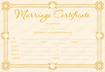 Golden Formal Blank Marriage Certificate Template