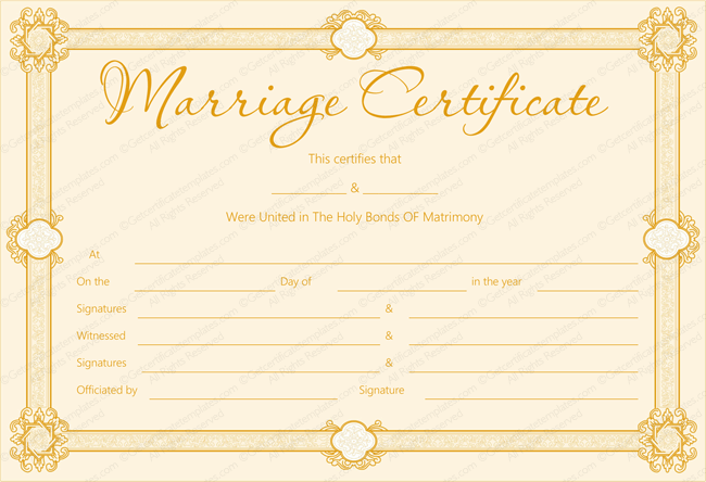 Formal Blank Marriage Certificate Template