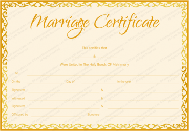 Free printable marriage certificate templates editable printable marriage certificate template golden flames design yadclub Images