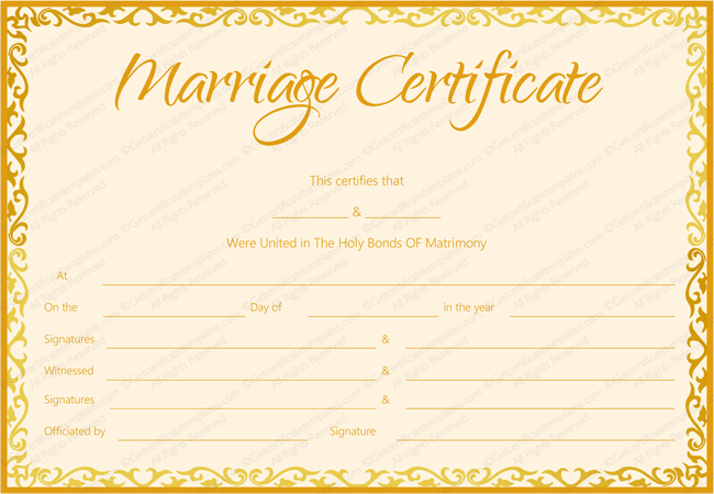 Marriage Certificate Template (Golden Flames Design)