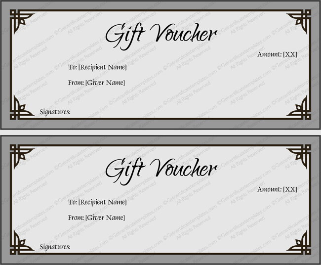 Simple Gray Gift Certificate Template Word  Printable Gift Voucher Template