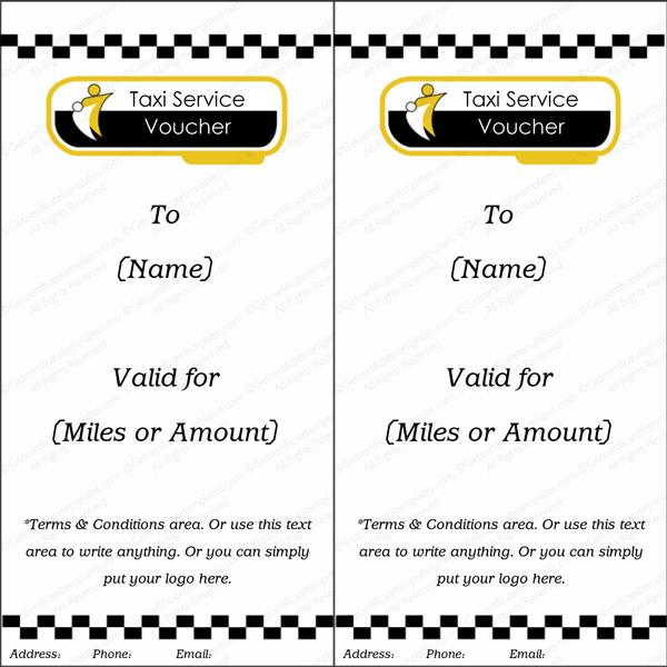 Taxi Service Gift Voucher Template