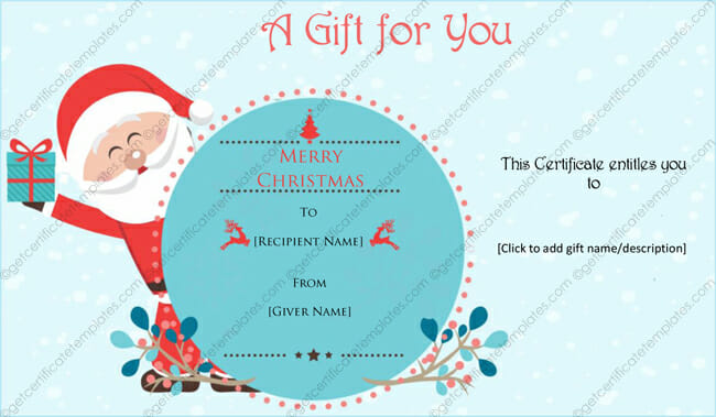 Christmas Gift Certificate Templates Printable Editable For Word