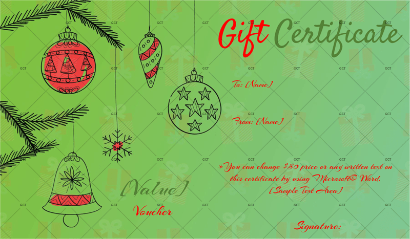 Christmas Gift Certificate (Artistic Ornamentals)