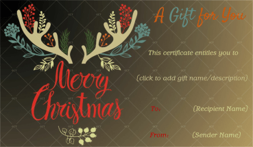 Christmas Gift Certificate (Soft Brown Background)