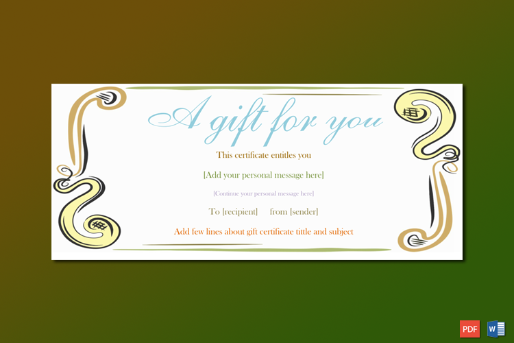 A Gift For You Gift Certificate Template