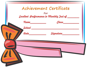 Achievement Certificate Template (For Passing Test)