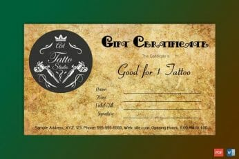 tattoo shop gift certificate