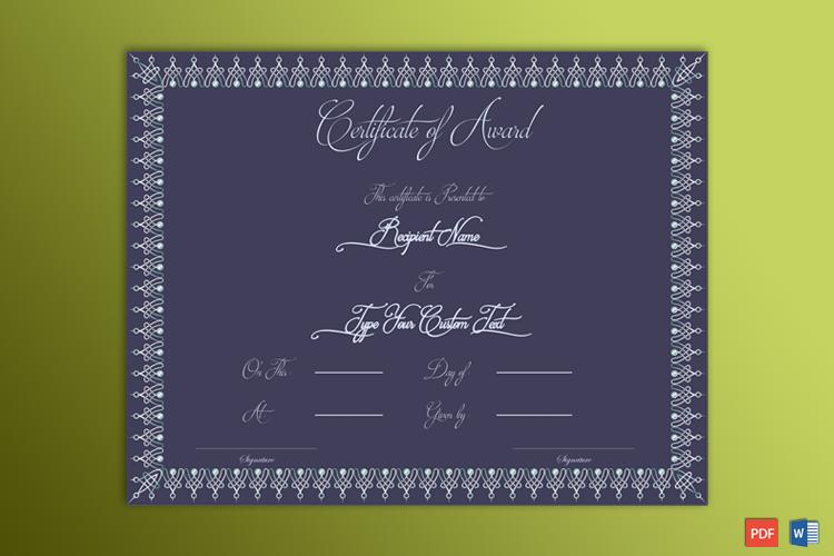 Printable Formal Award Certificate