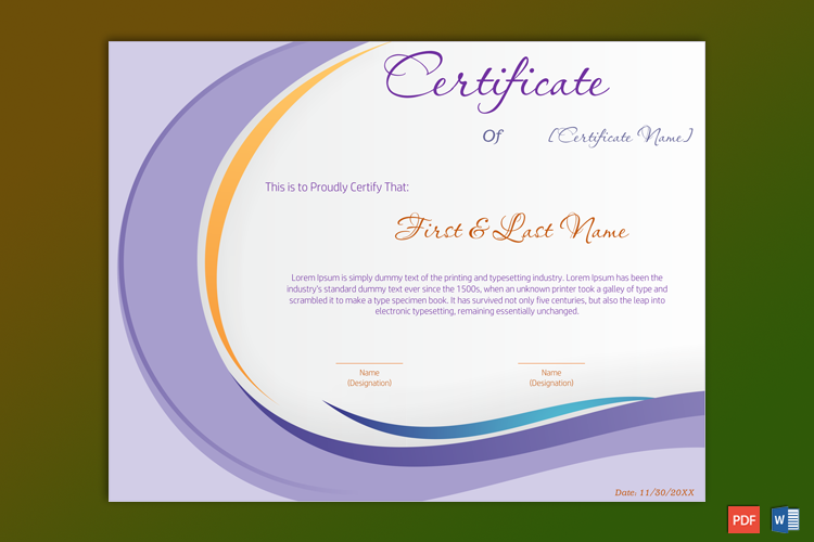 Formal Award Certificate Sample