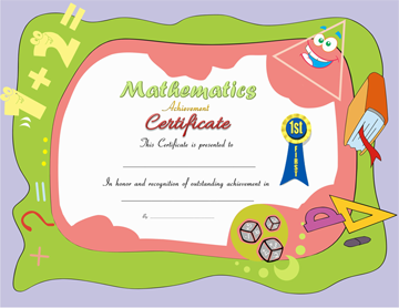 Award Certificate for Mathematics Free Download Word