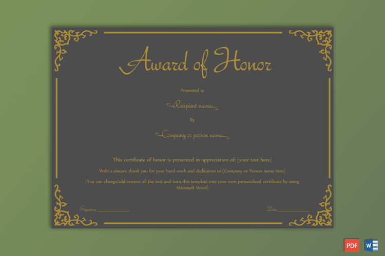 Award of Honor Sample