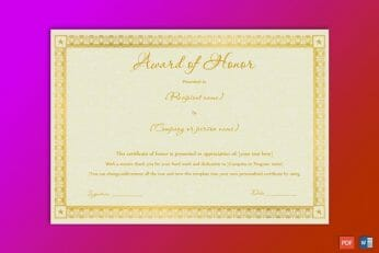 Award Certificate Wording