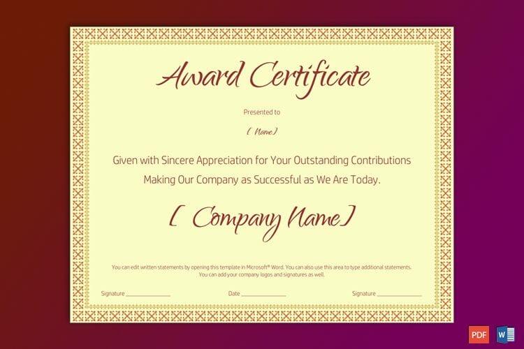 Sample of Retirement Award Certificate