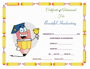 Beautiful Handwriting Award Certificate Template Word