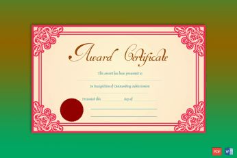 Achievement Award Sample