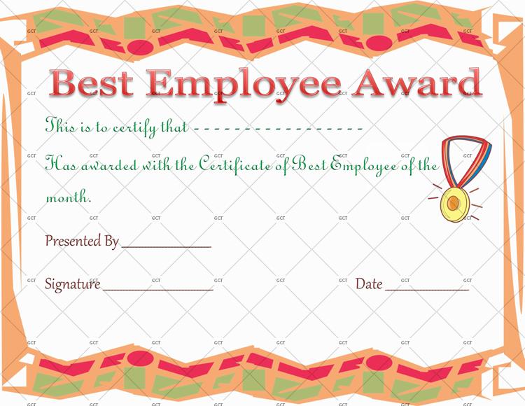 Best Employee Award Certificate Template Gct