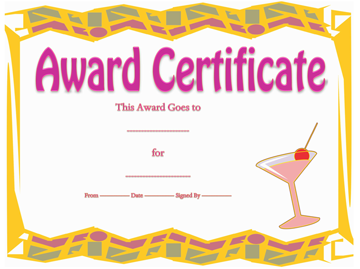 Best Party Award Certificate Template
