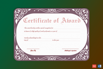 Editable Performance Award Certificate