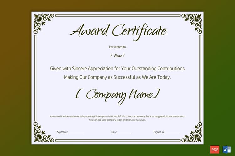Retirement Award Certificate