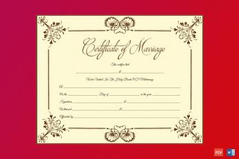 Blooming Flowers Marriage Certificate Word